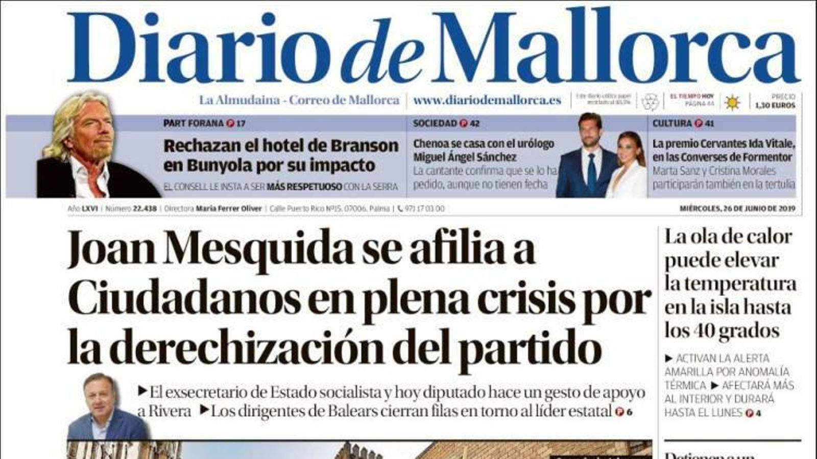 """""""Zapatero pressiona al TS en favor dels presos i el separatisme ho celebra"""", a la portada d''El Mundo'"""