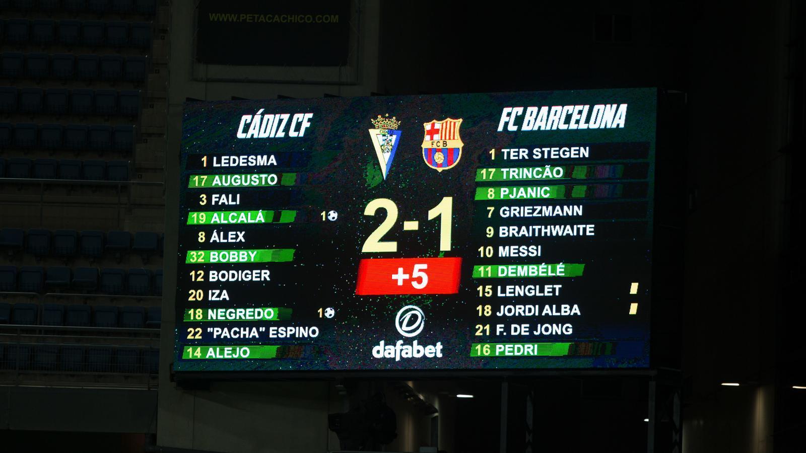El marcador del Cadis-Barça