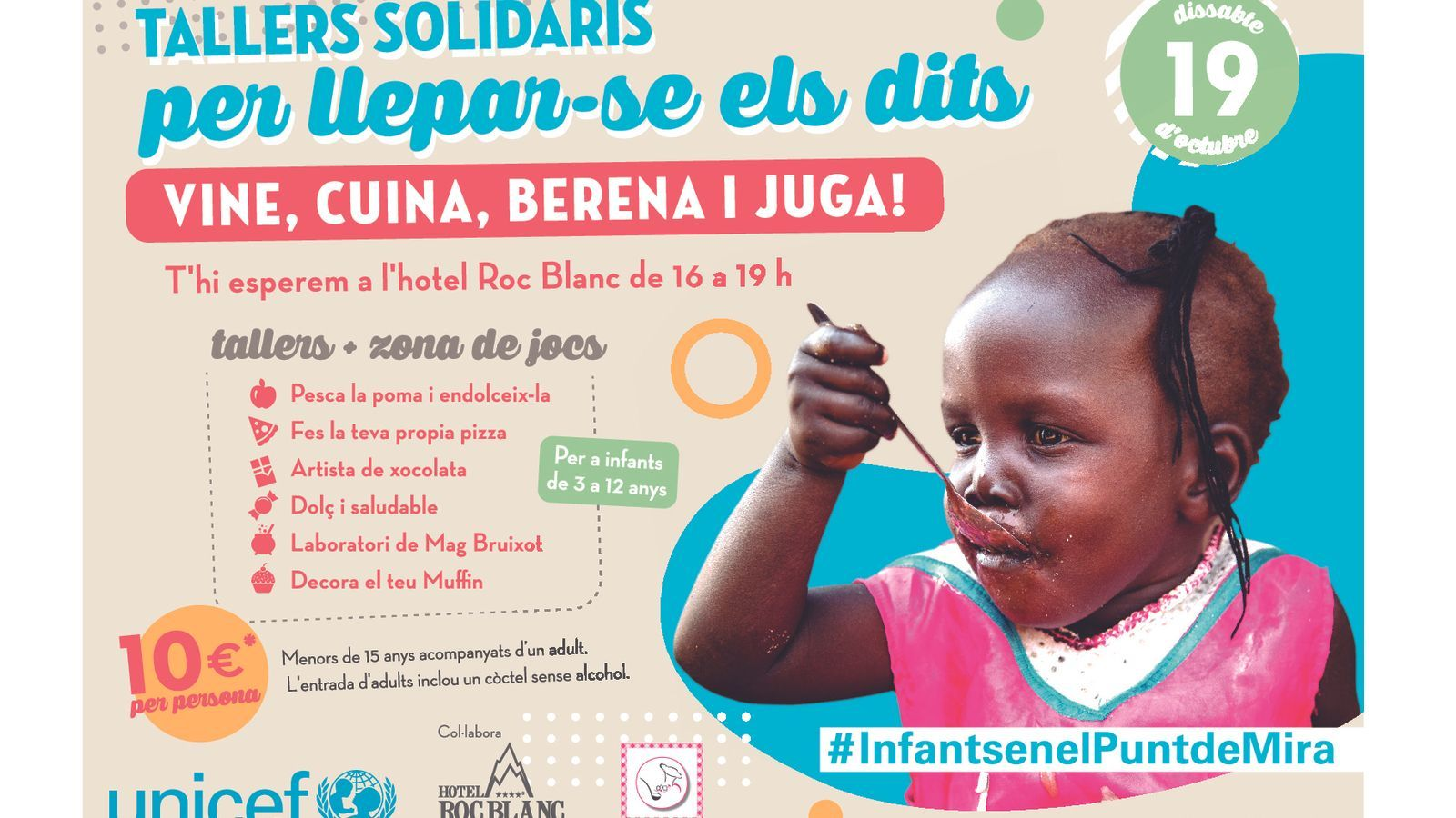 Cartell de la primera jornada 'Per llepar-se els dits! Vine, cuina, berena i juga'. / UNICEF