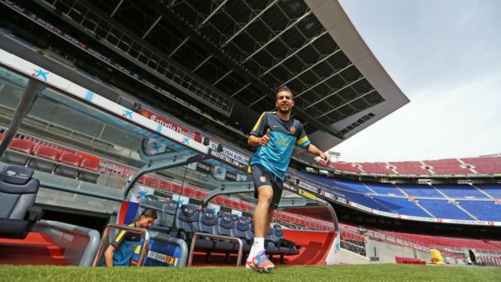 Jordi Alba, abans de l'entrenament