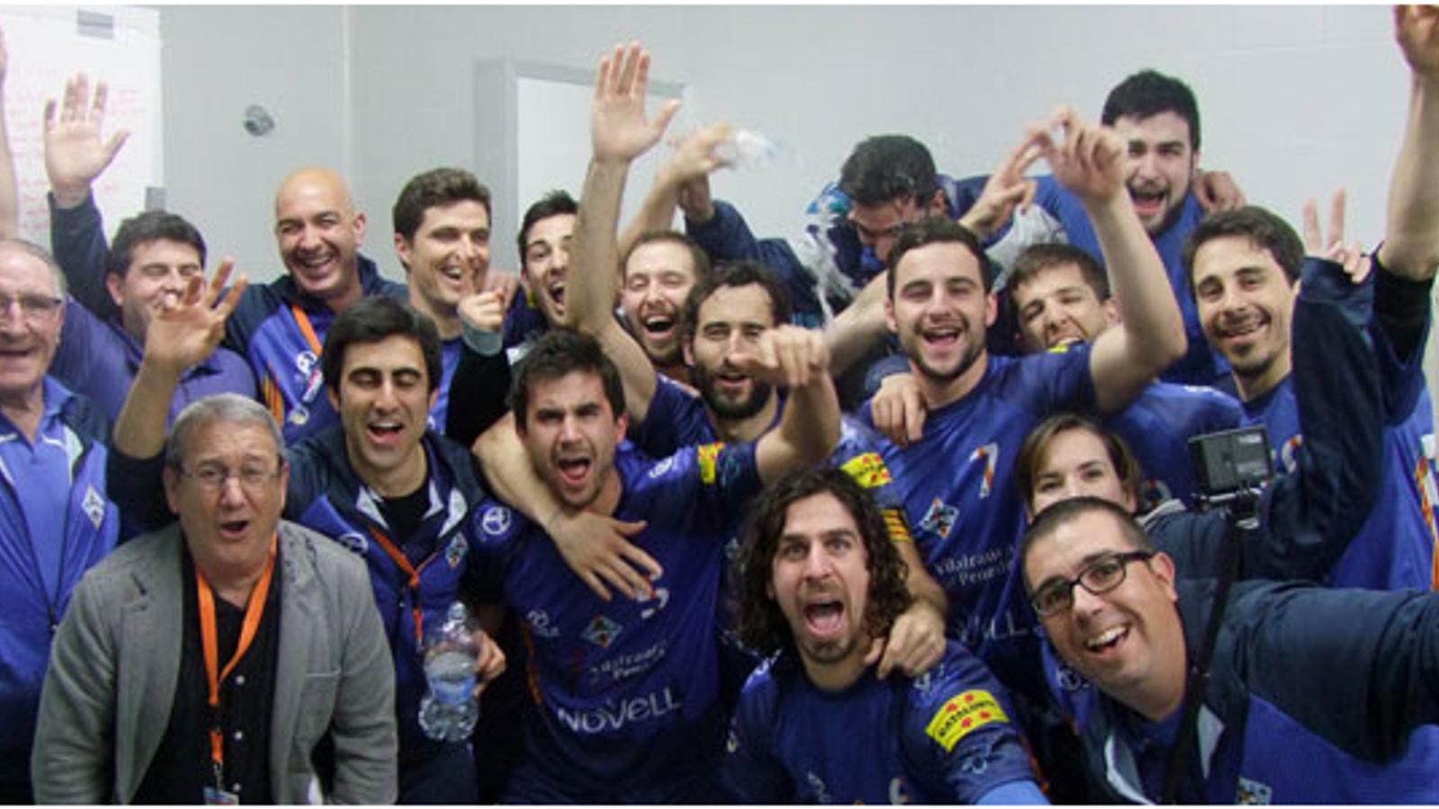 L'alegria dels jugadors del Pati Vilafranca