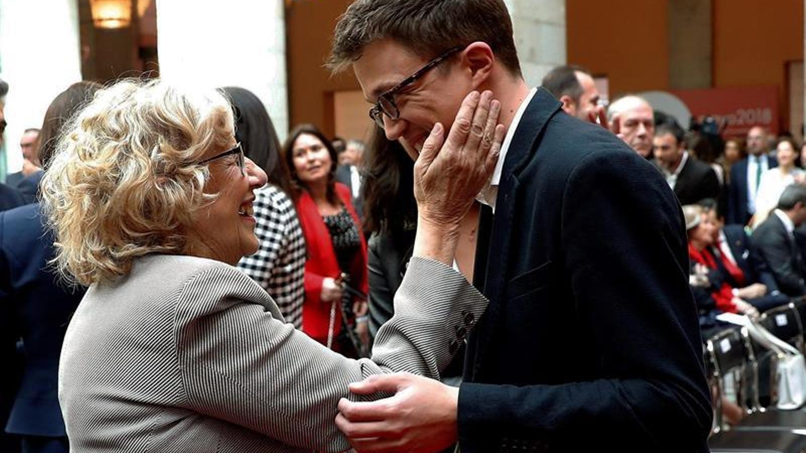 L'alcaldessa de Madrid, Manuela Carmena, i el candidat a la presidència de la Comunitat, Íñigo Errejón, en una imatge d'arxiu