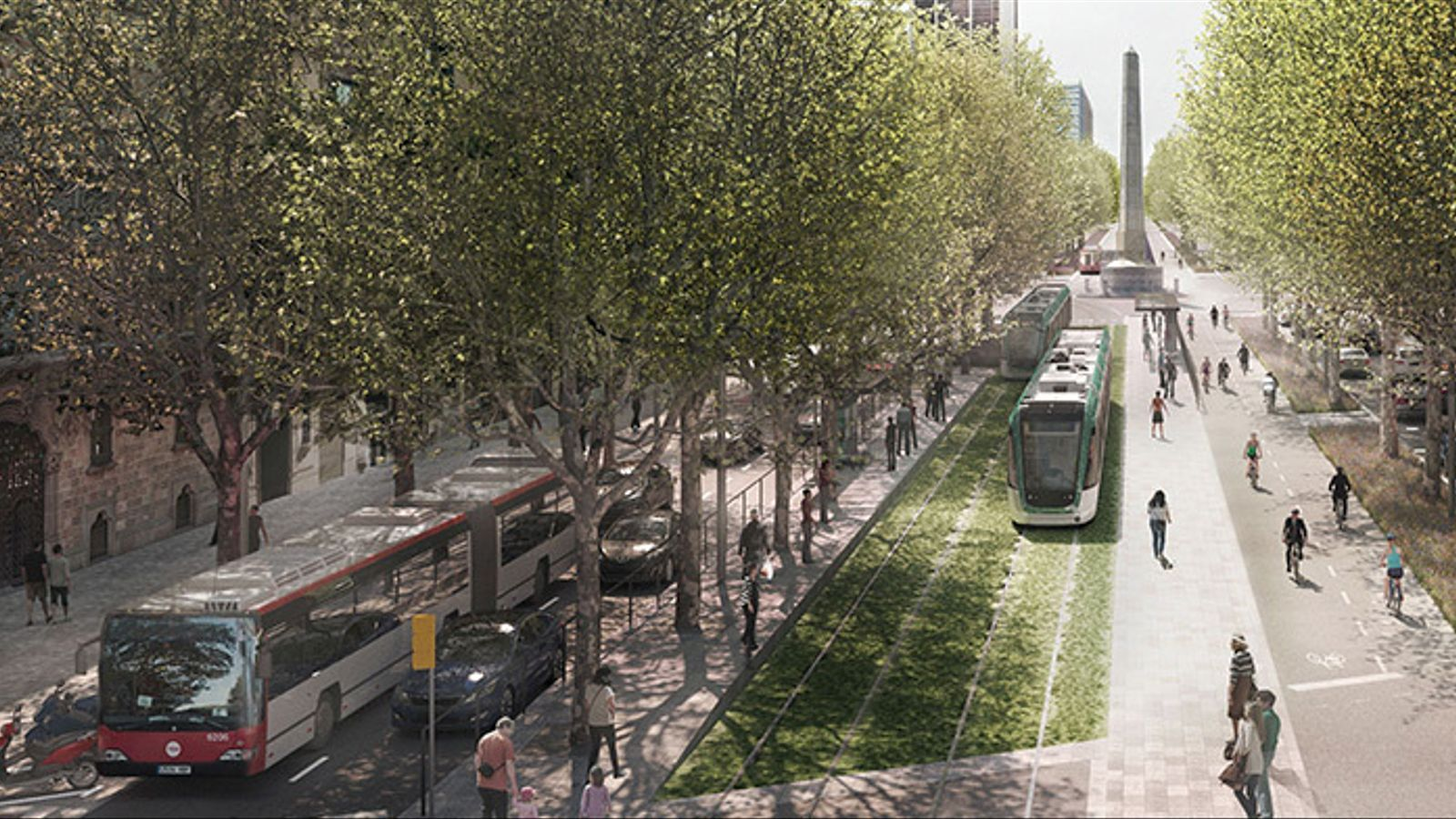 El tramvia per la Diagonal expulsarà els cotxes als laterals
