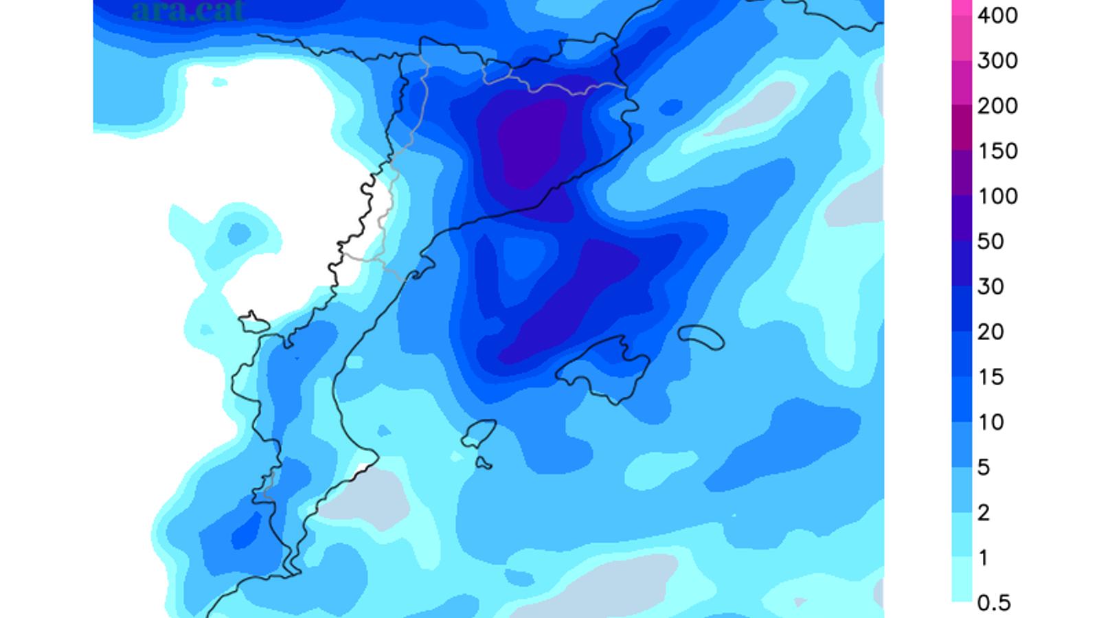 Acumulació de pluja prevista en tot el cap de setmana