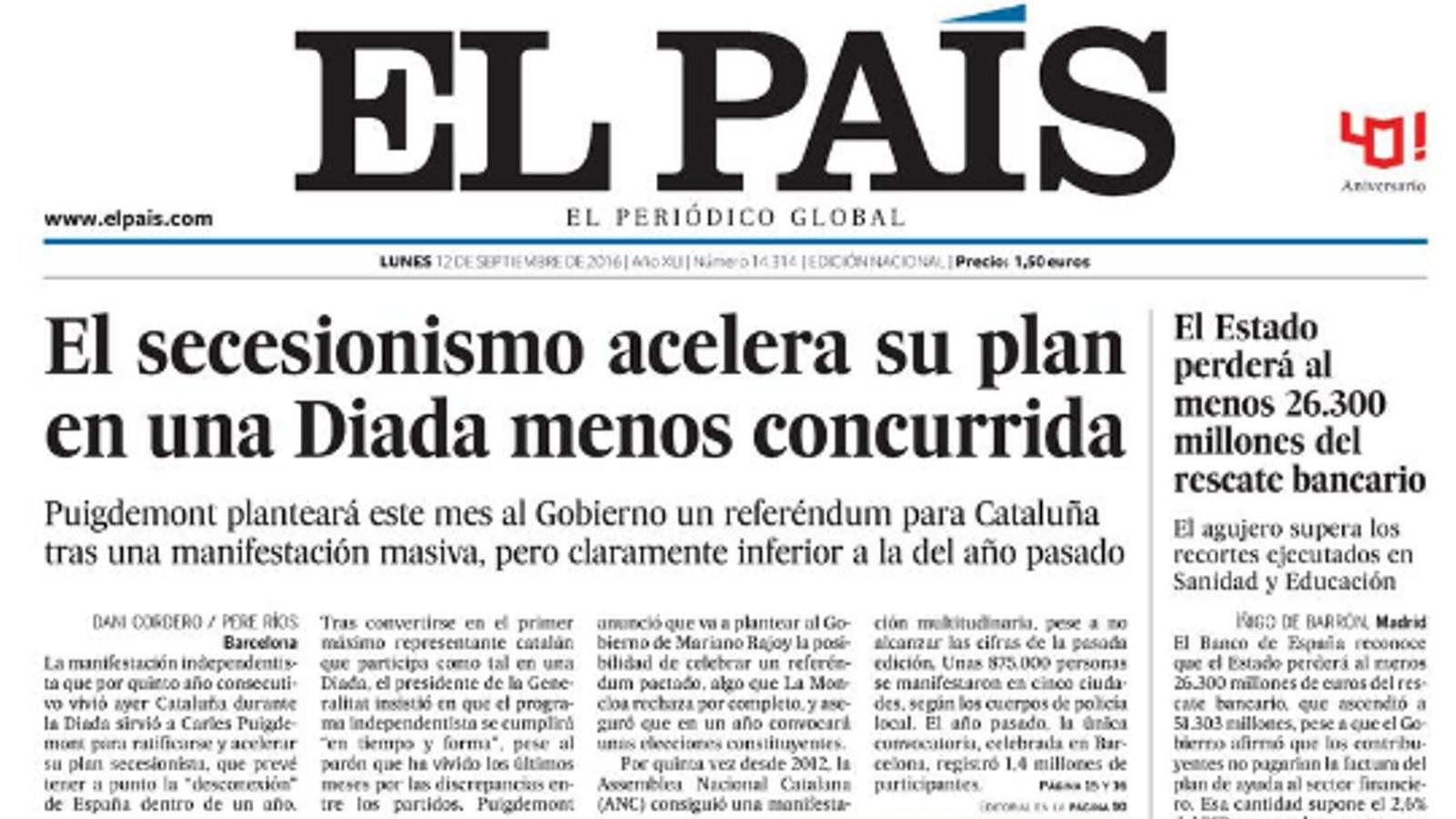 """""""La farsa de Puigdemont: independència per Catalunya en un any"""", portada de l'ABC"""
