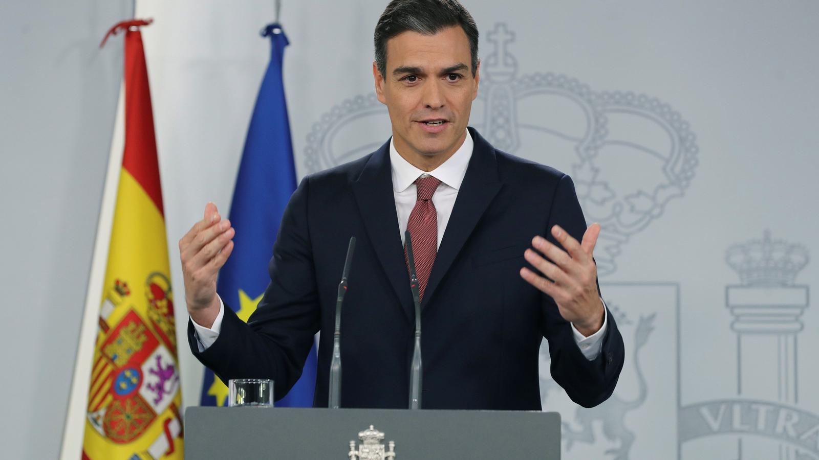 El president espanyol, Pedro Sánchez, durant la compareixença on ha explicat els canvis legals pel que fa a l'impost de les hipoteques