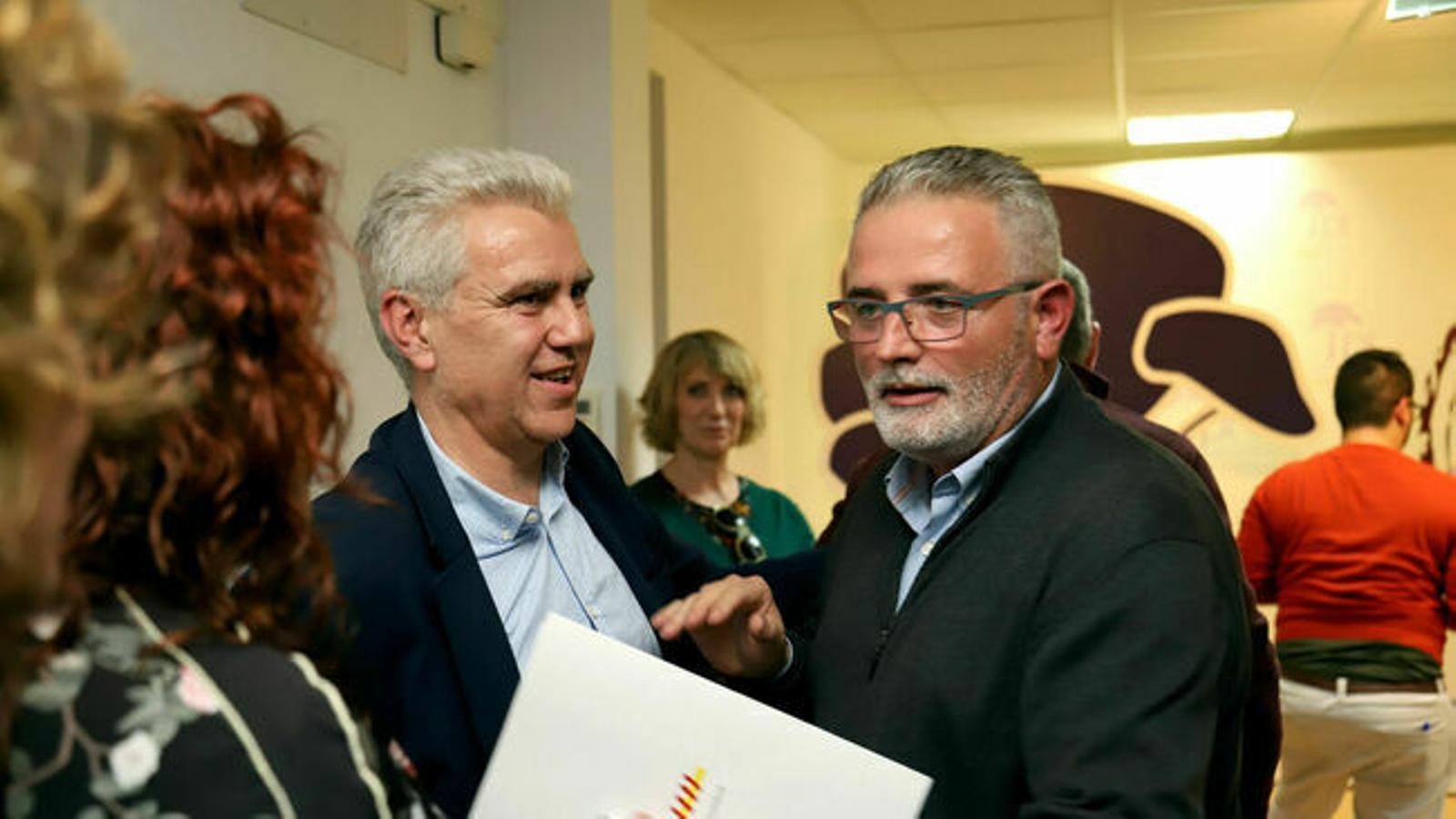 Josep Melià i Jaume Font el passat 12 de febrer, quan Font convocà els mitjans per fer pública la seva dimissió. / I. VELÁZQUEZ