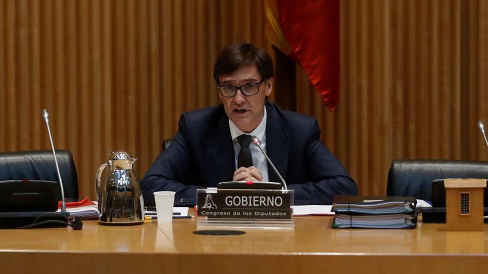 El ministre de Sanitat, Salvador Illa, compareixent a la comissió de Sanitat del Congrés dels Diputats, aquest migdia