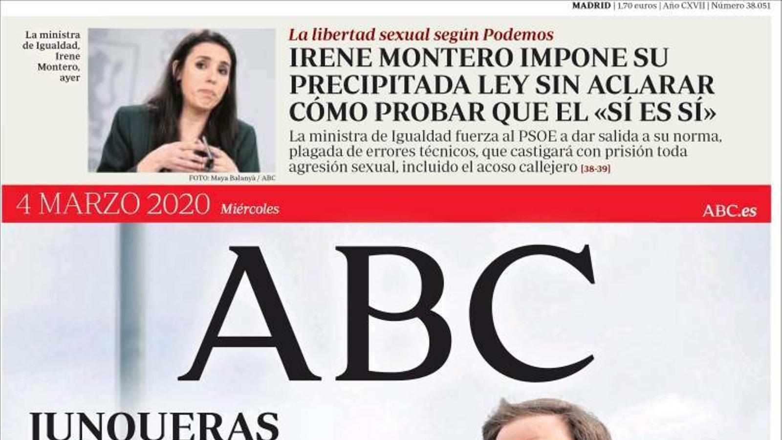 """""""Junqueras s'uneix al club dels 'indultats'"""", portada de l''Abc'"""