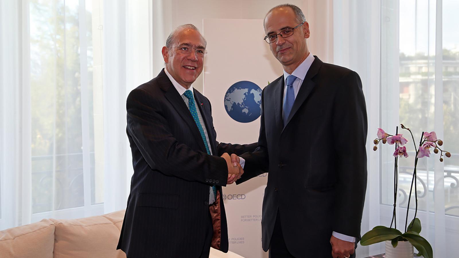 El Secretari General de l'OCDE, Angel Gurría durant una trobada amb el cap de Govern, Toni Martí. / GOVERN D'ANDORRA