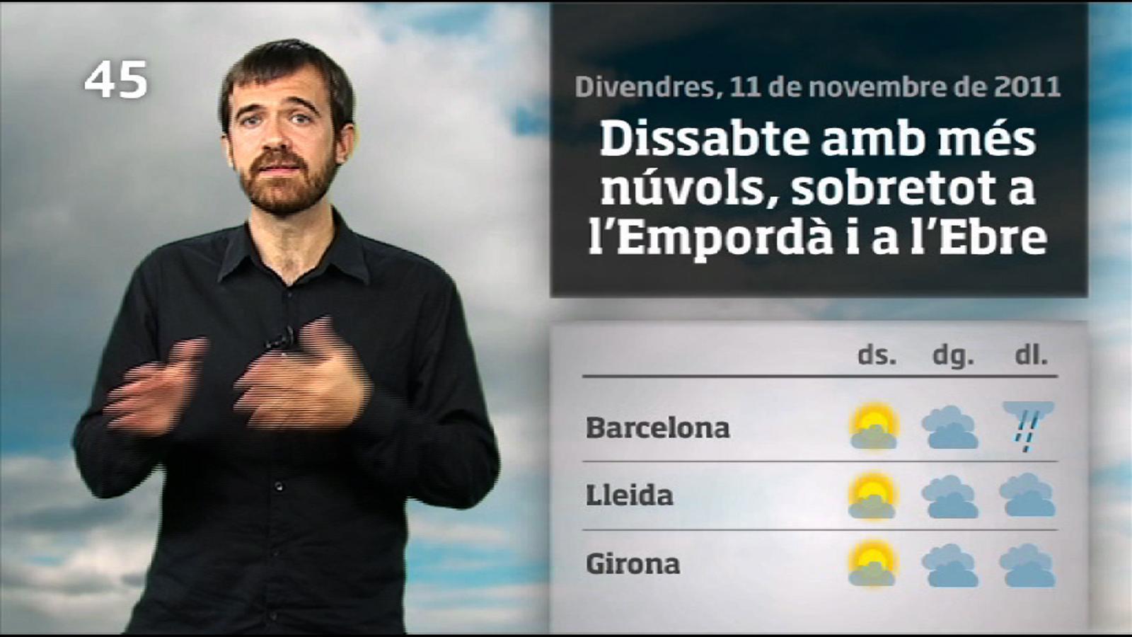 La méteo en 1 minut: cap de setmana amb més núvols (12/11/2011)