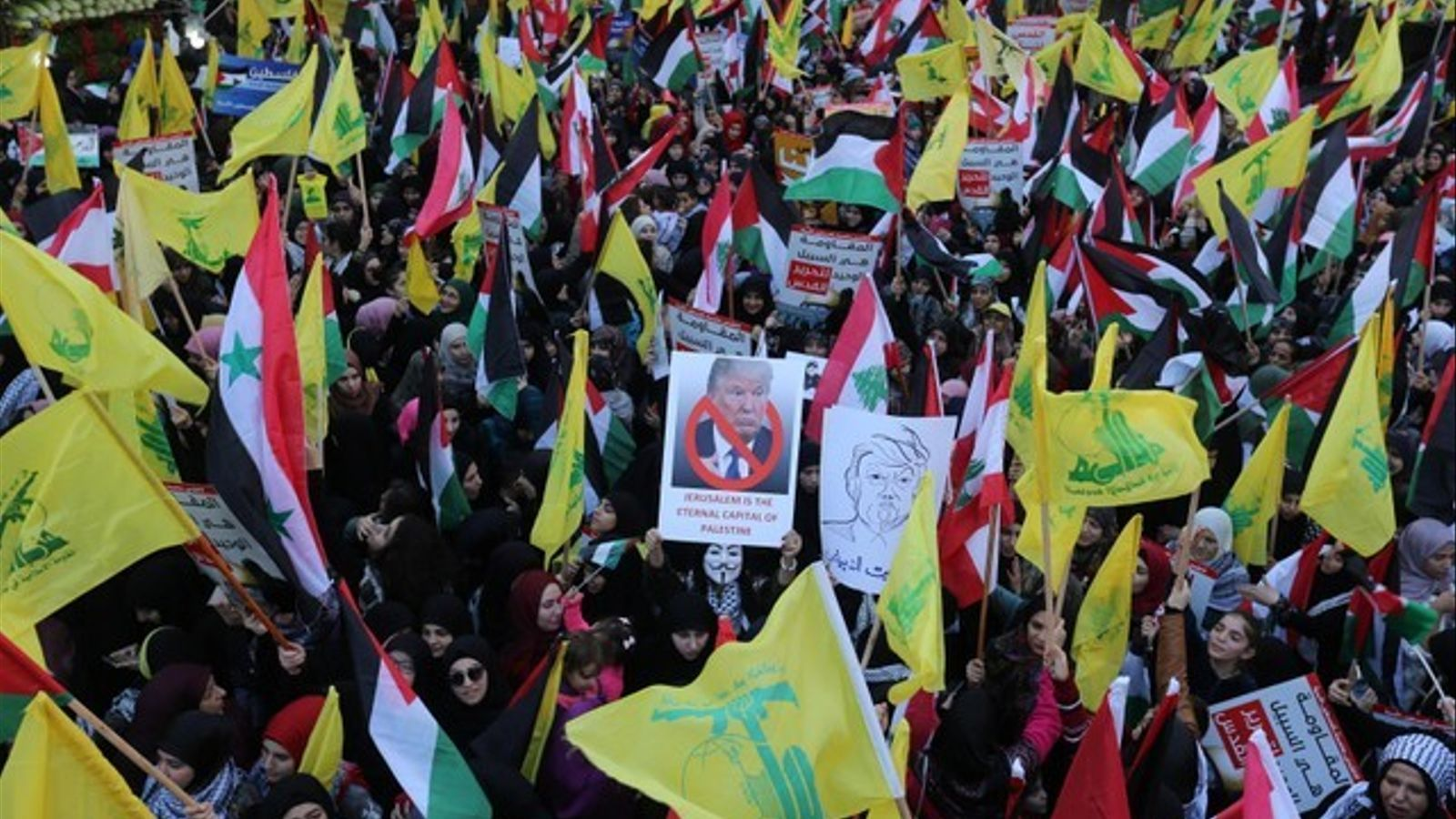 Manifestació organitzada per Hezbol·lah a Beirut contra la decisió de Trump sobre Jerusalem