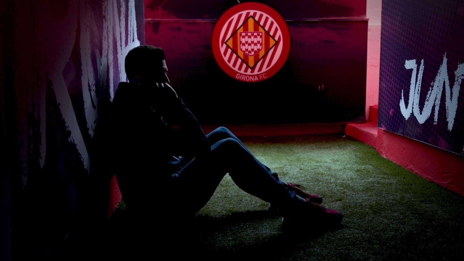 Àlex Granell i el seu pare, protagonistes de l'anunci abans del Girona-Madrid