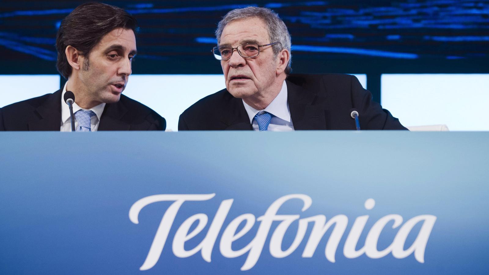 César Alierta juntament amb Álvarez-Pallete, la seva proposta pel relleu a la presidència de Telefónica