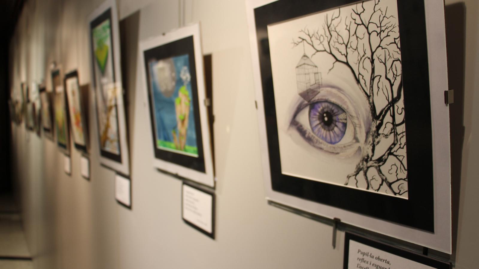 Algunes de les pintures que conformen la mostra 'Pigmentum Animae', inaugurada aquest dimarts a Encamp. / M. P (ANA)