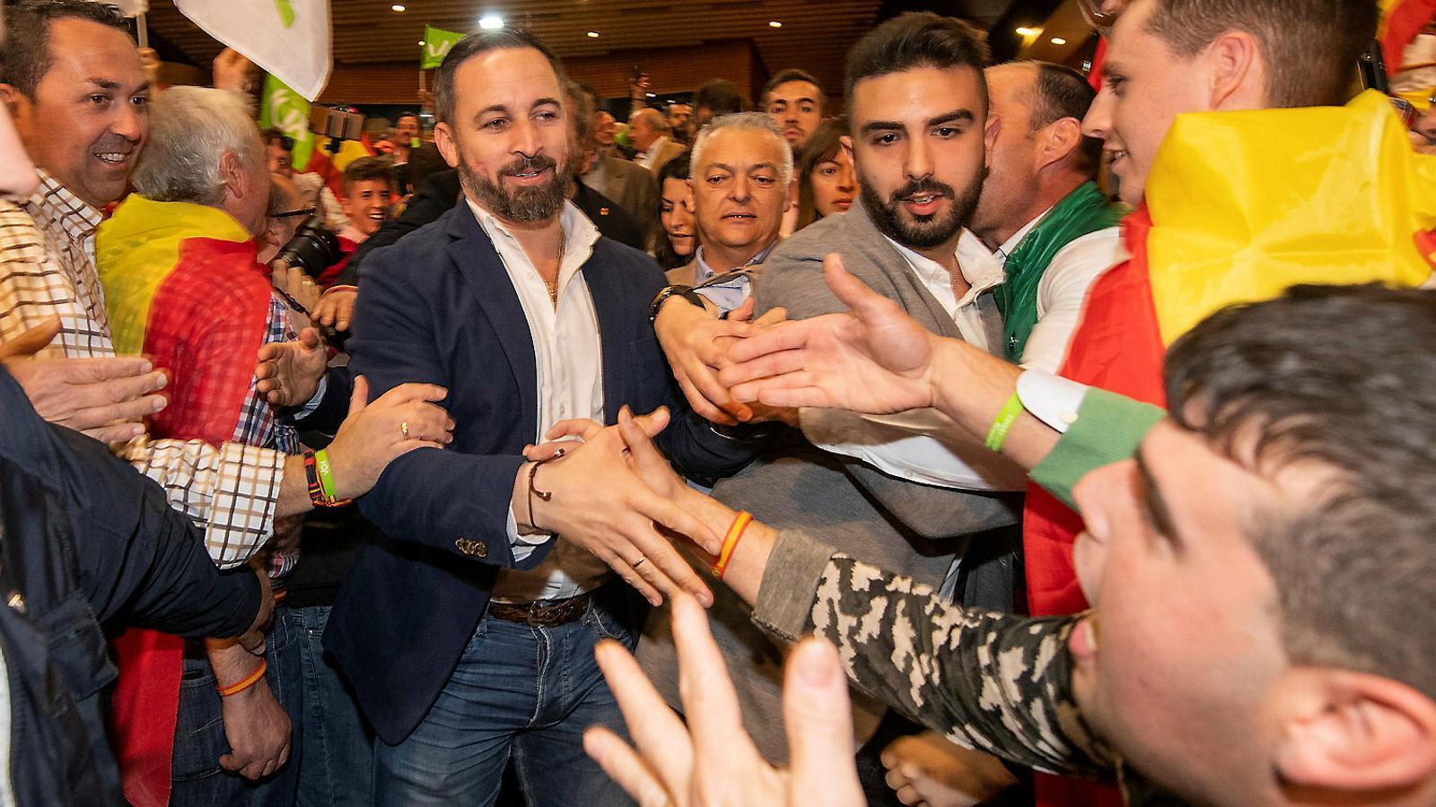 El líder de Vox, Santiago Abascal, ahir a Granada.
