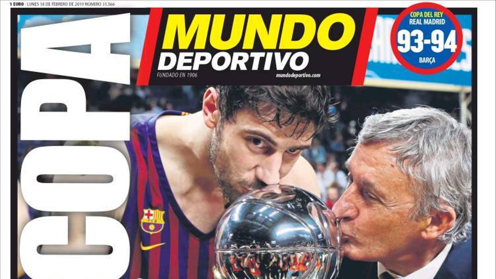 Portada 'Mundo Deportivo', 18 de febrer 2019