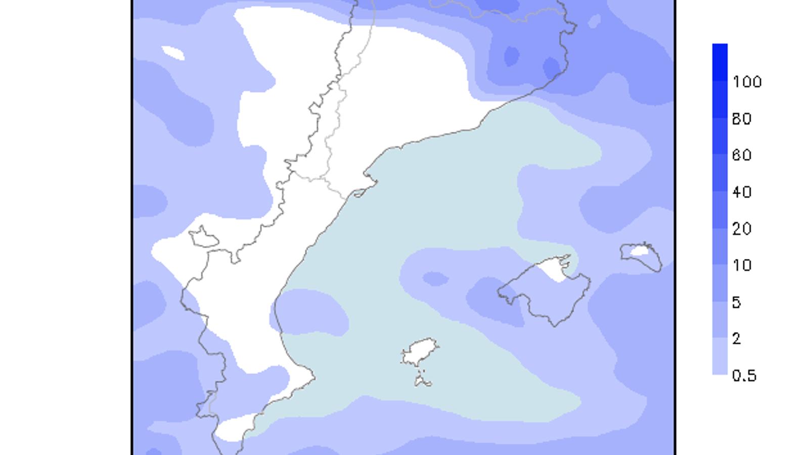 Acumulacions de precipitació previstes per avui