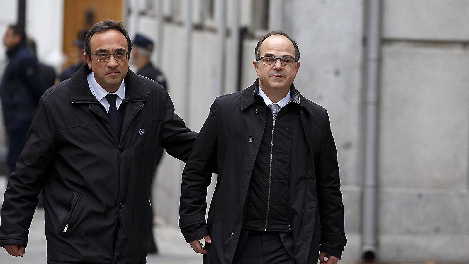 Josep Rull i Jordi Turull, arribant al TS en una imatge d'arxiu.