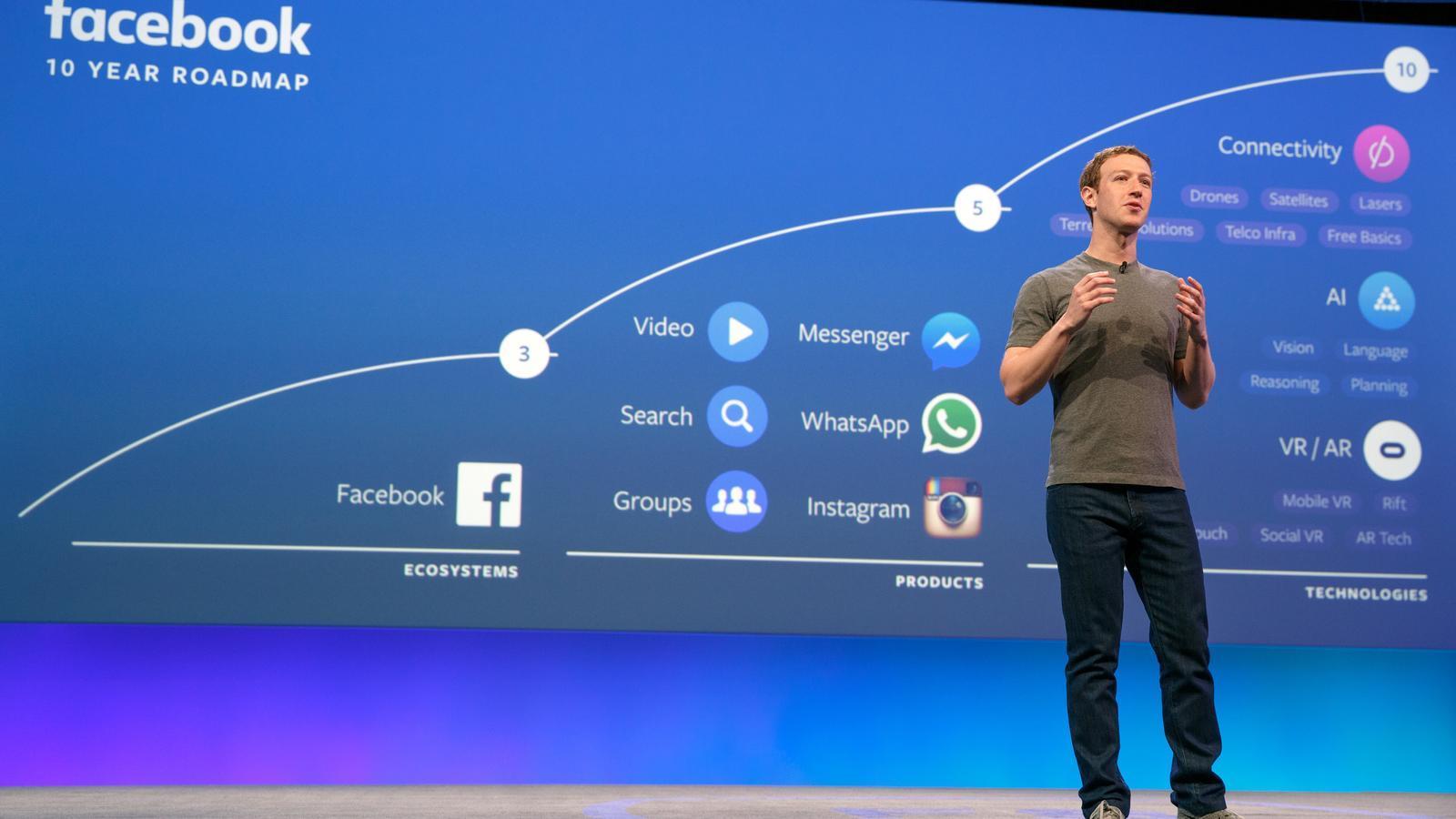El fundador de Facebook, Mark Zuckerberg, presentant els plans de l'empresa. / FACEBOOK