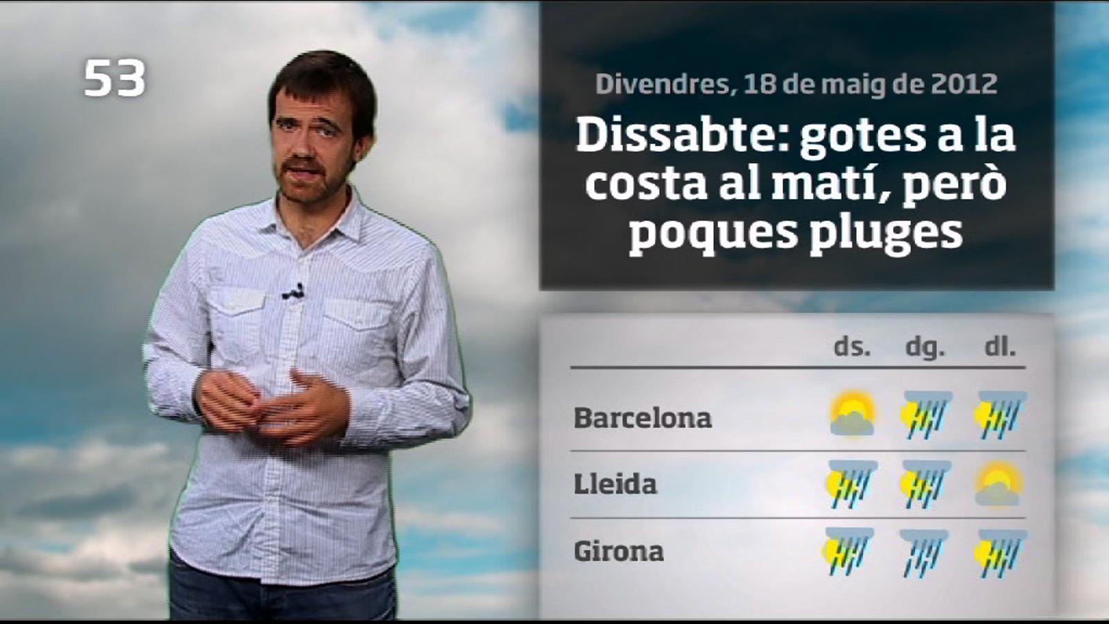 La méteo en 1 minut: cap de setmana amb xàfecs arreu (19/05/2012)