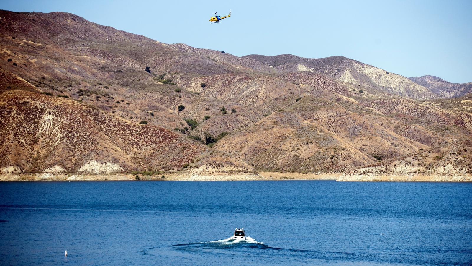 Imatge aèria del llac Piru, on han trobat el cos sense vida de l'actriu Naya Rivera