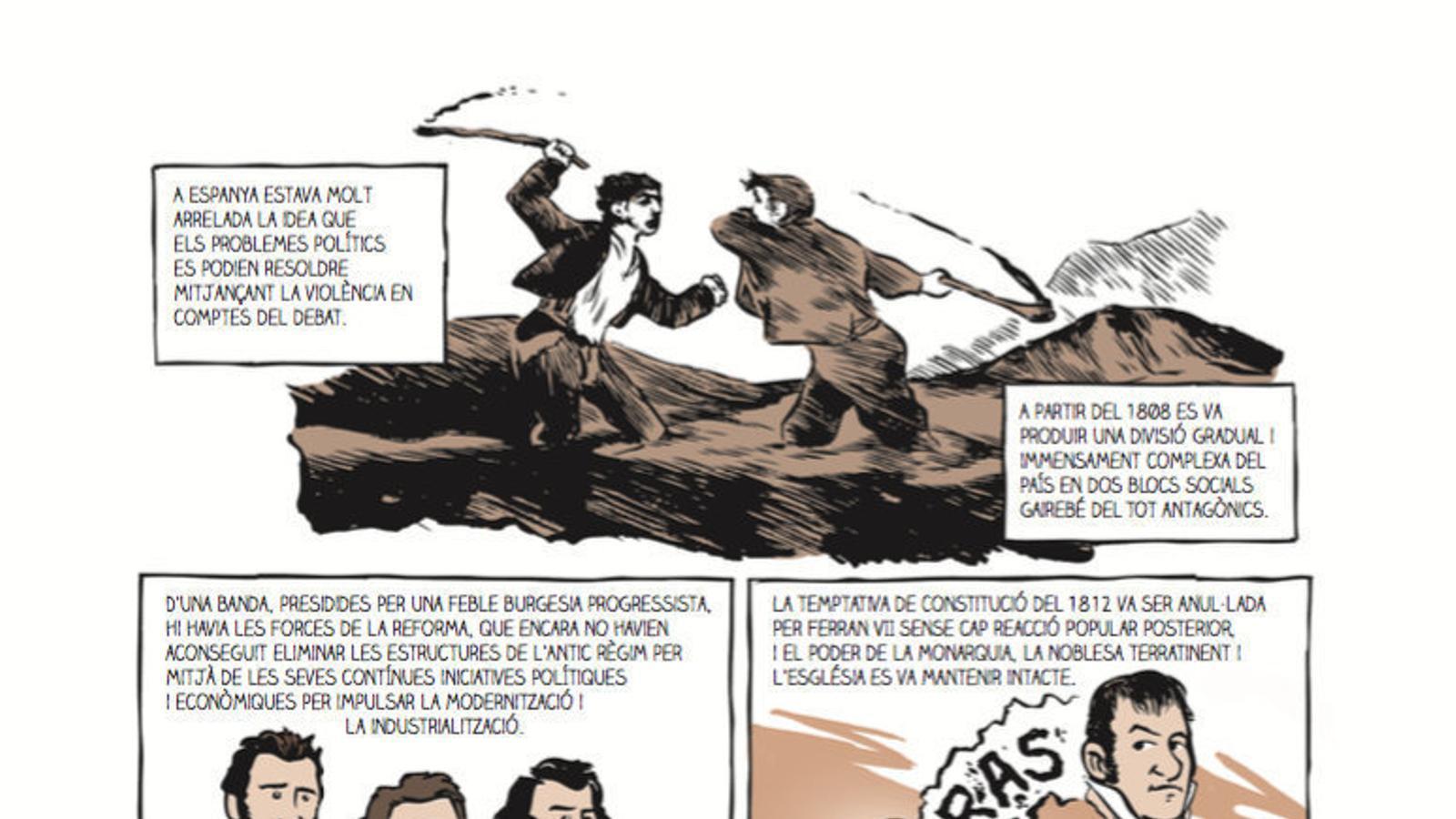 D'esquerra  a dreta,  la il·lustració inspirada en Goya amb què comença el còmic, la proclamació de la II República, l'aprovació de la Constitució de 1931 i els enfrontaments bèl·lics. / EDITORIAL BASE