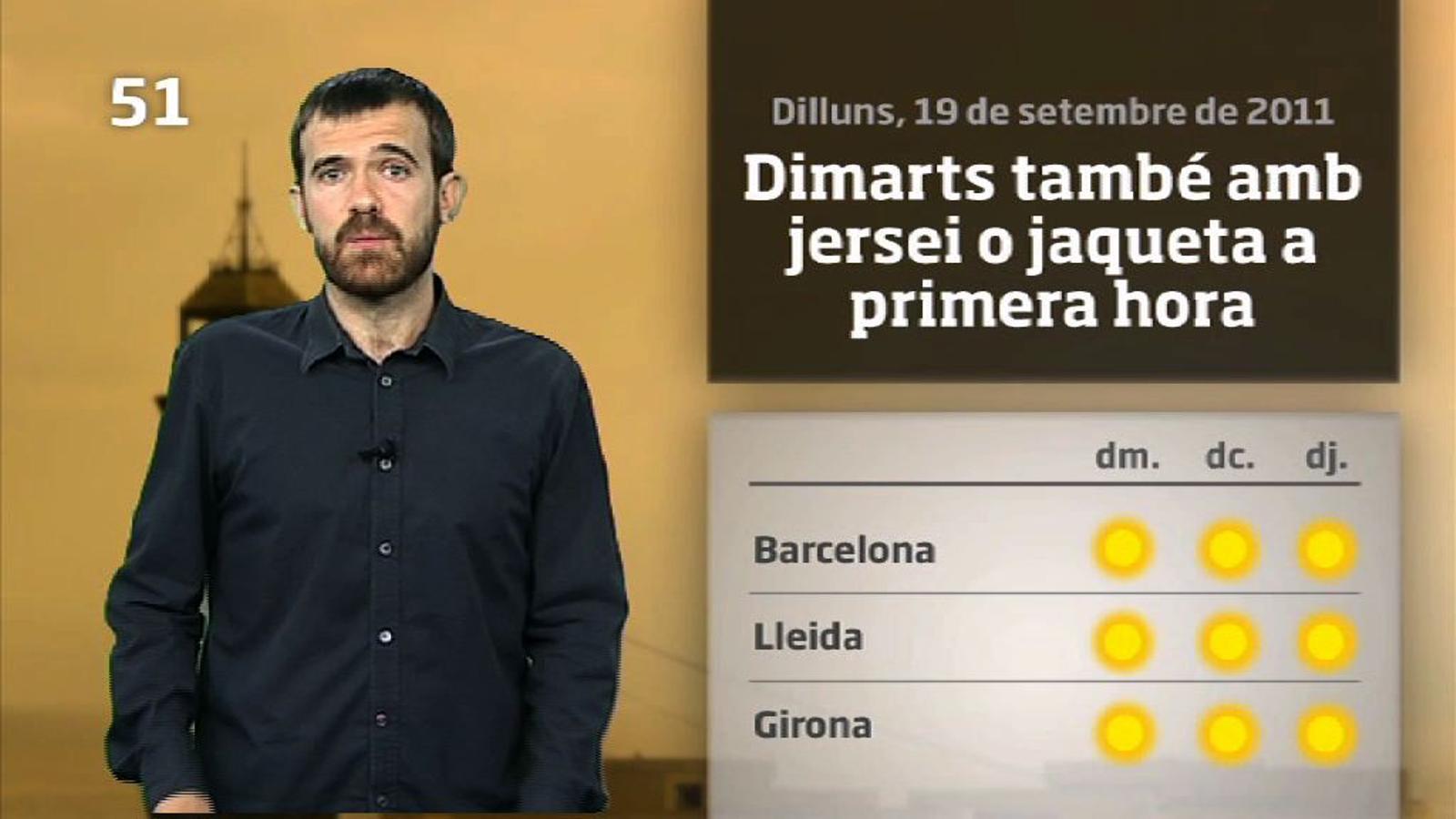 La méteo en 1 minut: l'estiu revifarà al centre de la setmana (20/09/2011)