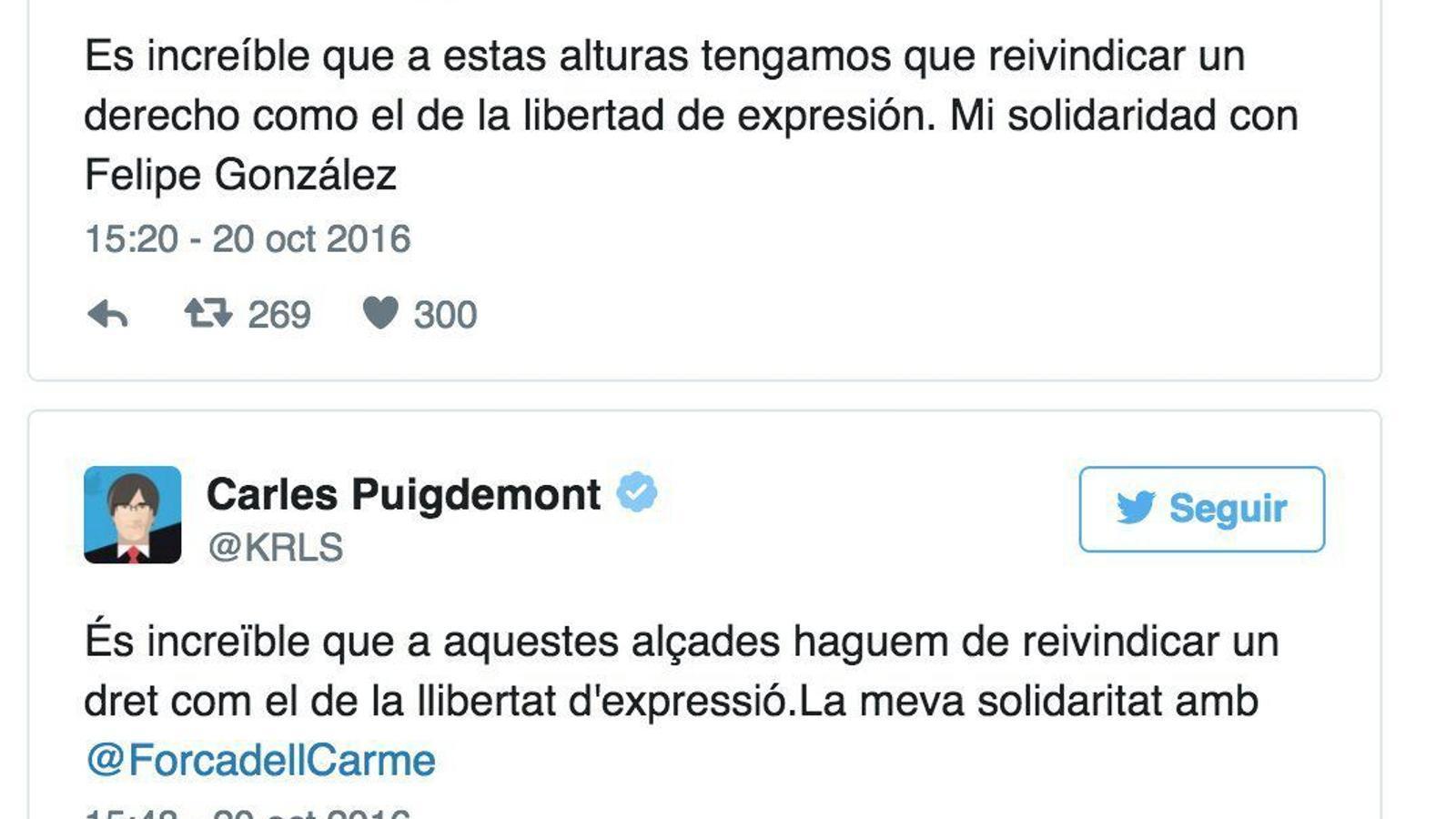 Puigdemont troleja Rajoy a Twitter