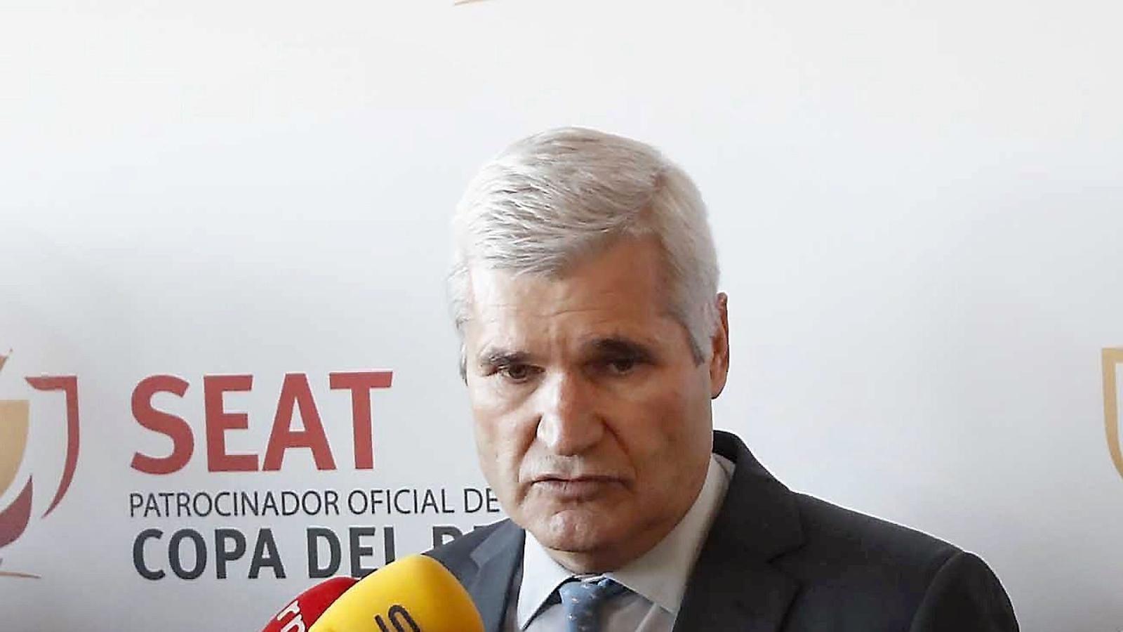 Pere Gratacós en el moment de fer les declaracions que li han costat deixar de ser el representant del club davant la RFEF.