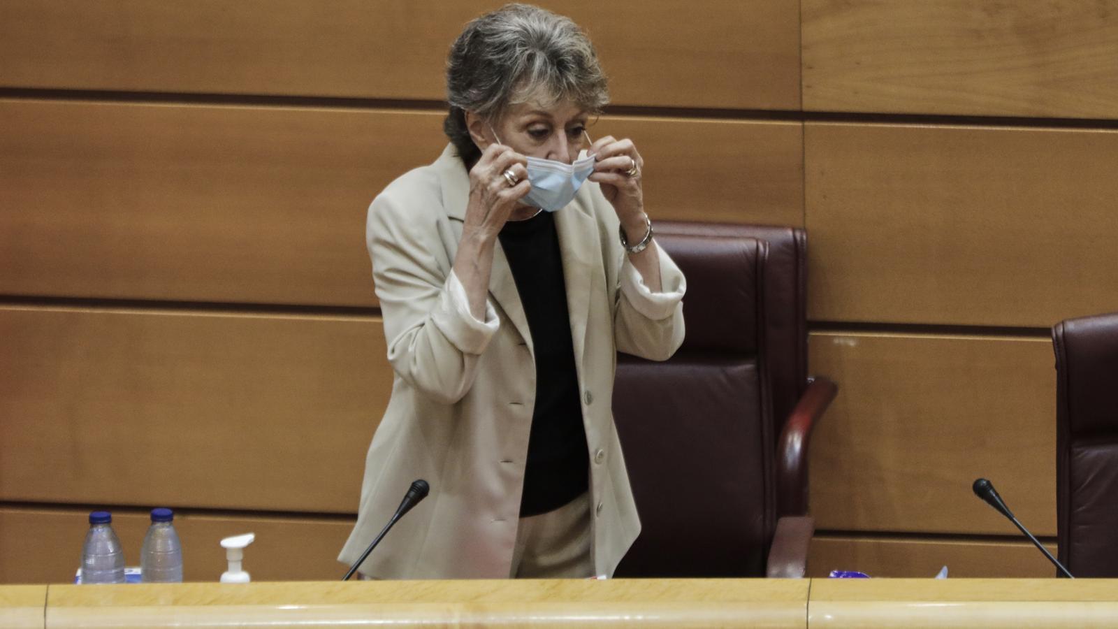 Rosa María Mateo, durant la seva compareixença d'aquest dimarts al Senat
