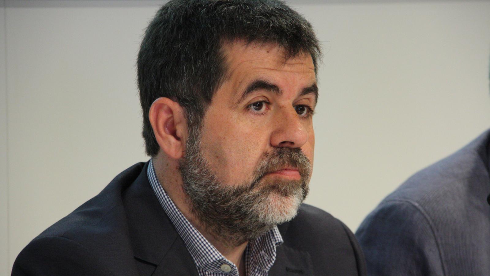Jordi Sánchez, president de l'Assemblea Nacional Catalana (ANC), durant la presentació de l'estudi 'Impacte de la independència en l'empresa'. / ACN