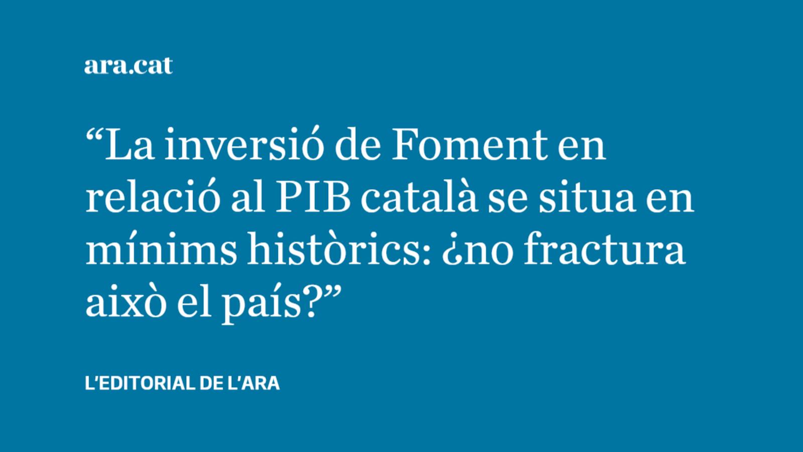 El persistent càstig inversor  en infraestructures a Catalunya