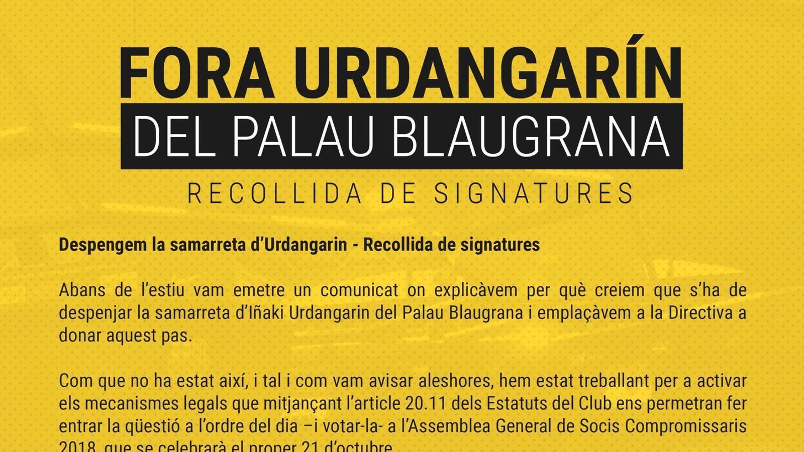 Campanya per retirar la samarreta d'Urdangarin del Palau