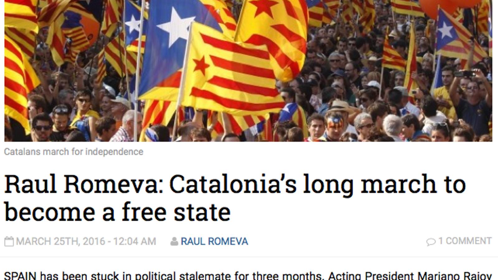 Captura de l'article de Romeva al 'The National'