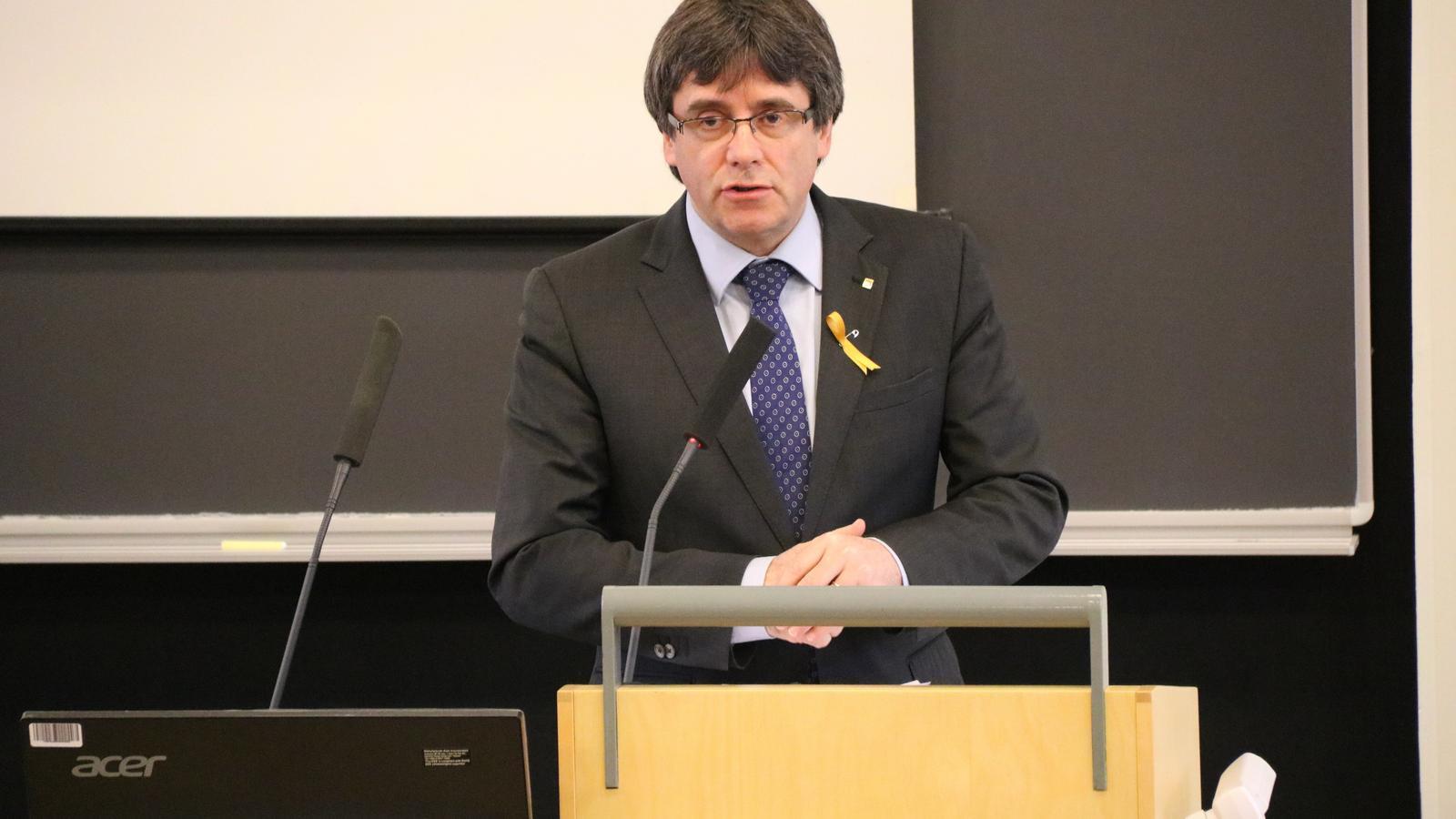 Puigdemont, durant la conferència que va fer a Hèlsinki, Finlàndia, ahir