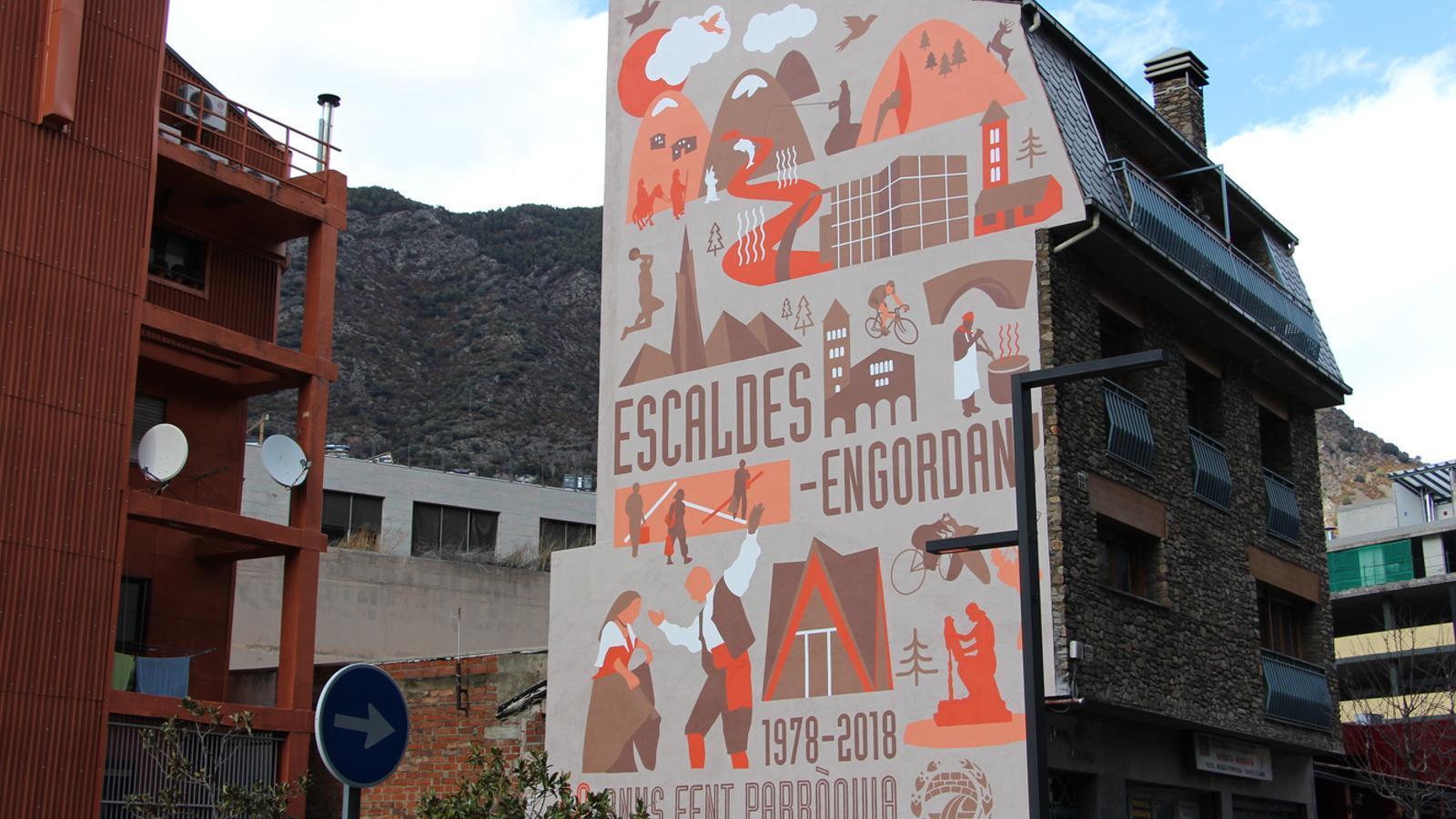 El mural de la façana dels Tres Diners d'Escaldes-Engordany. / ARXIU ANA