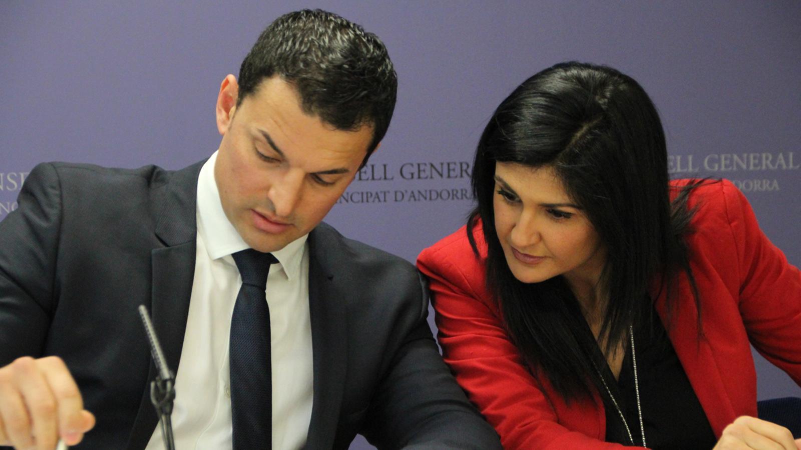 El president suplent del grup liberal, Jordi Gallardo, i la consellera general Carine Montaner presenten les esmenes al pressupost / C.G.