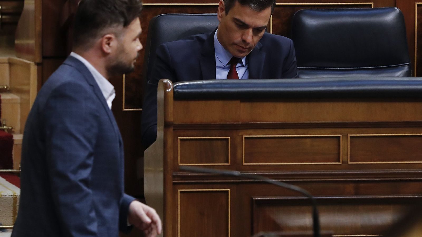Gabriel Rufián i Pedro Sánchez, en una sessió al Congrés aquest any.