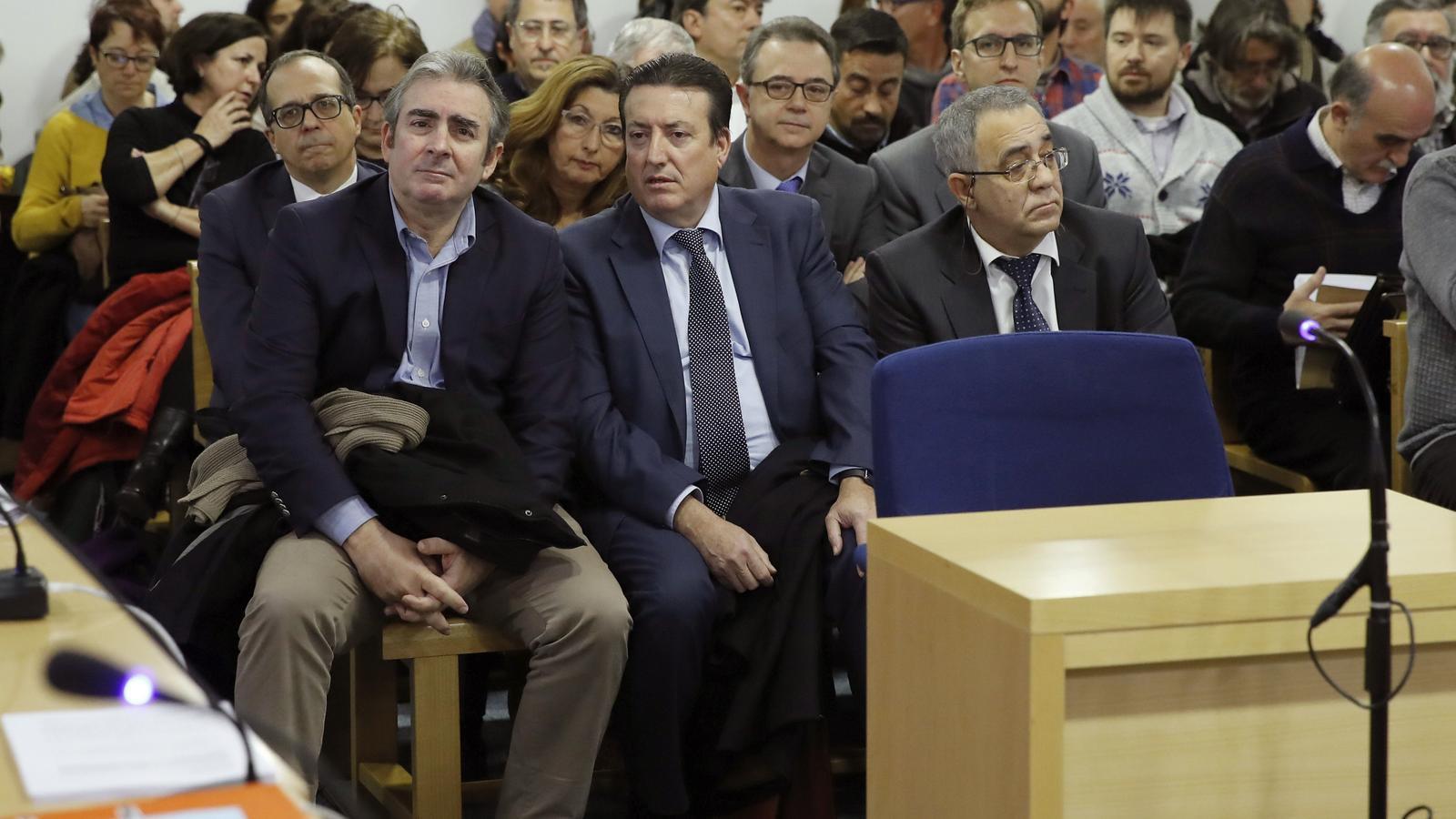 Vista general de la sala de l'Audiència Nacional on avui s'ha celebrat el judici per l'ERO de RTVV. / JUAN CARLOS HIDALGO / EFE