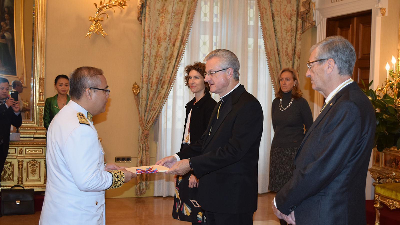 La recepció al Palau Episcopal. / BISBAT D'URGELL
