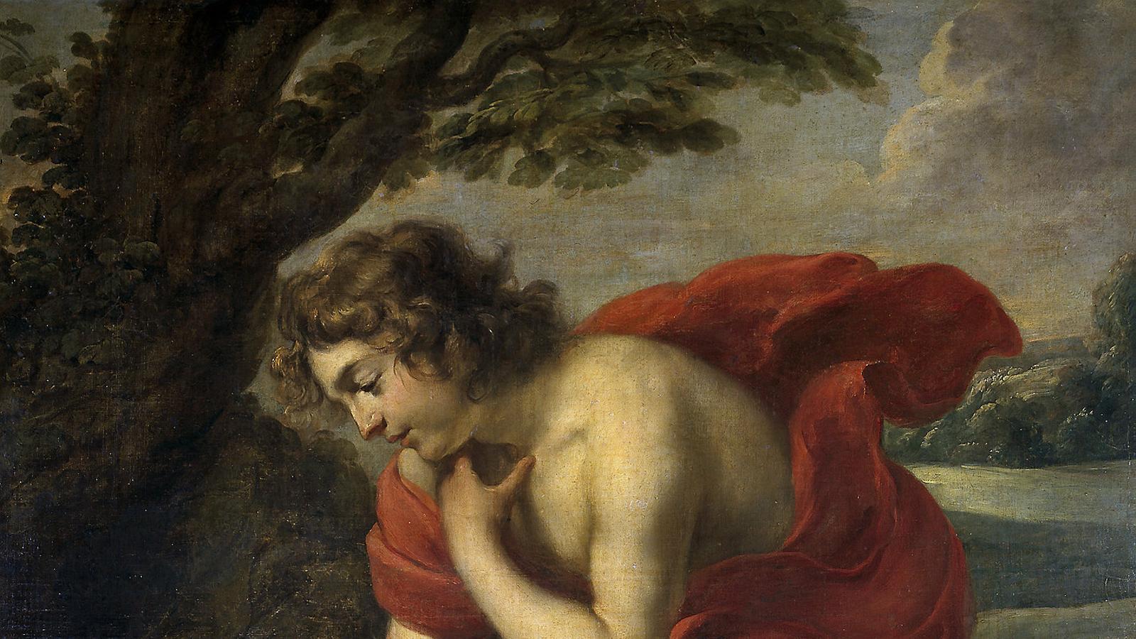 Jan Cossiers (Anvers, 1600-1671) es va inspirar en el llibre II de Les metamorfosis d'Ovidi per mostrar la història del bell Narcís, castigat pels déus a morir d'amor cap a ell mateix per haver rebutjat la nimfa Eco.