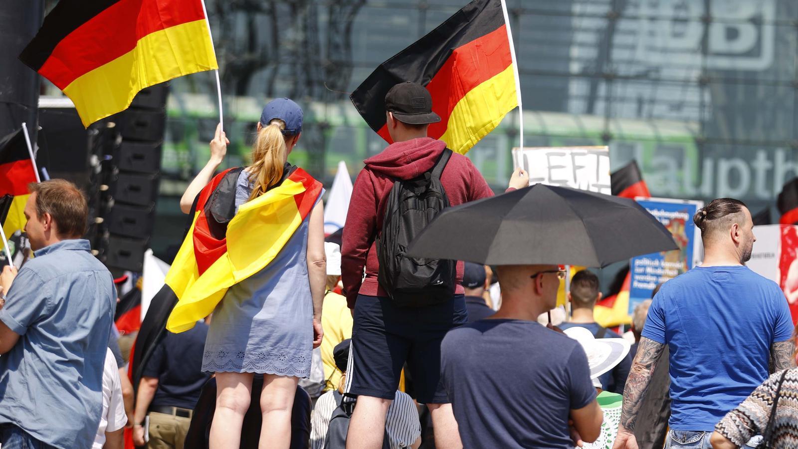 Simpatitzants d'Adf onejant banderes a Alemanya a la manifestació de Berlín / HANNIBAL HANSCHKE / REUTERS