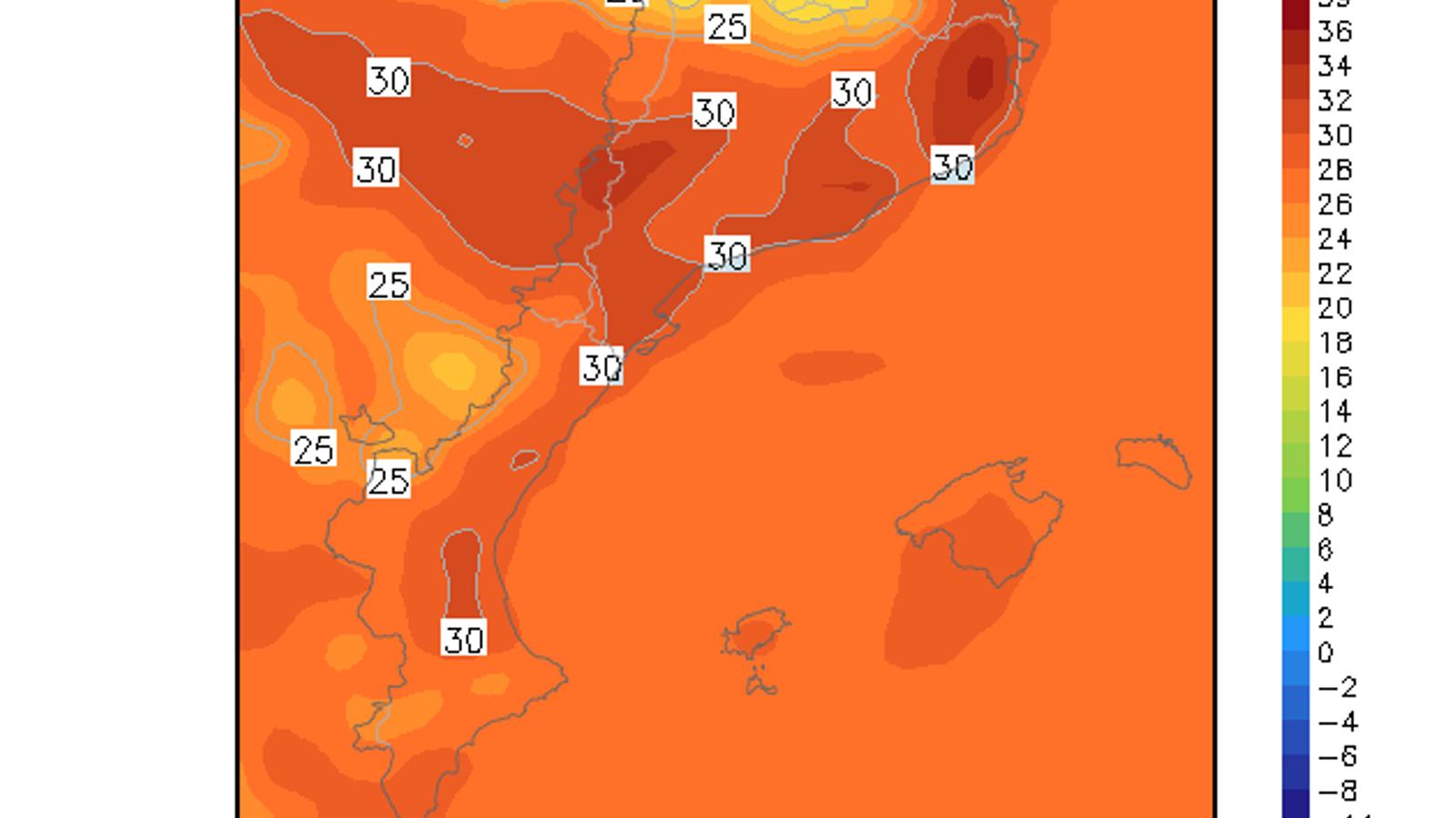Temperatures màximes previstes per aquest diiumenge / GFS 0.25 / ARA Méteo