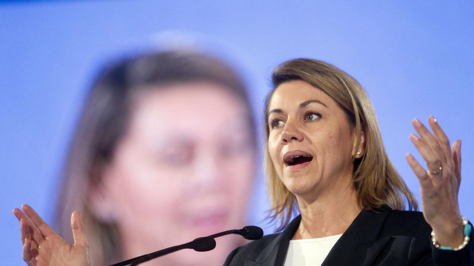 La secretària general, María Dolores de Cospedal va ser ahir, a Badalona, la protagonista del segon acte central de campanya que els populars celebren a Catalunya.