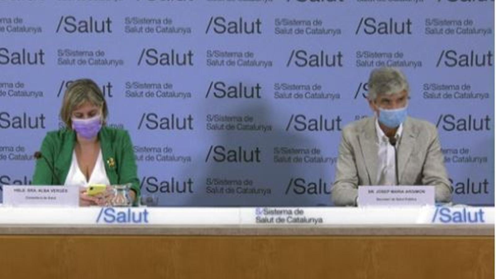 Roda de premsa de la consellera de Salut, Alba Vergés, el secretari de Salut Pública, Josep Maria Argimon, i el coordinador de la unitat de covid-19, Jacobo Mendioroz.