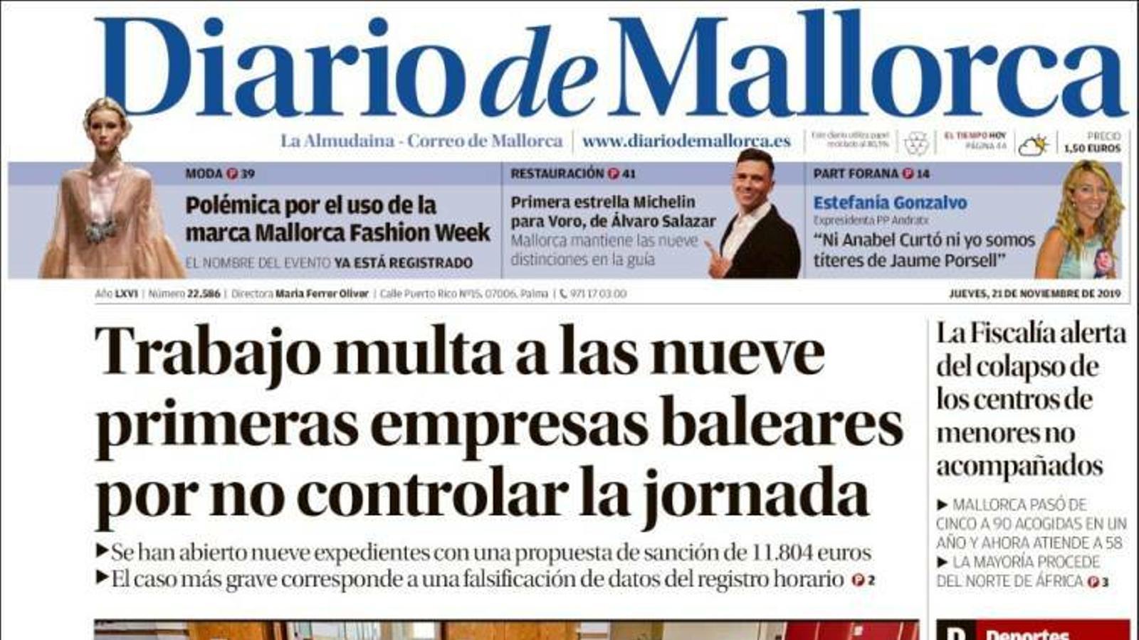 """""""Treball multa a les nou primeres empreses balears per no controlar la jornada"""", portada de 'Diario de Mallorca'"""