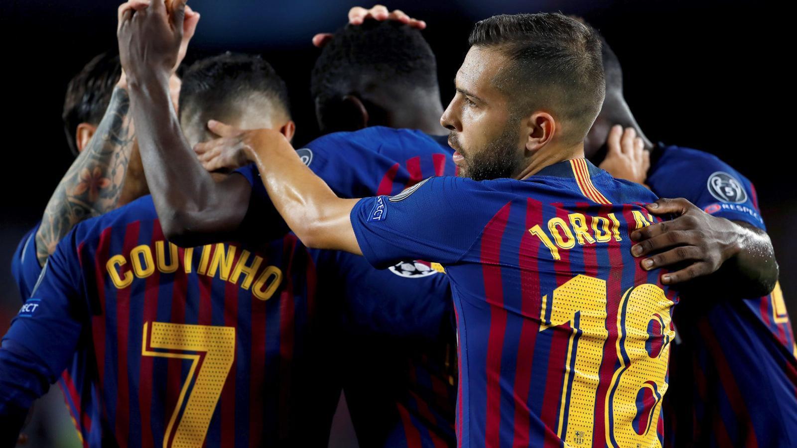 Els jugadors del Barça celebrant un gol contra el PSV el dimarts passat a la Champions.