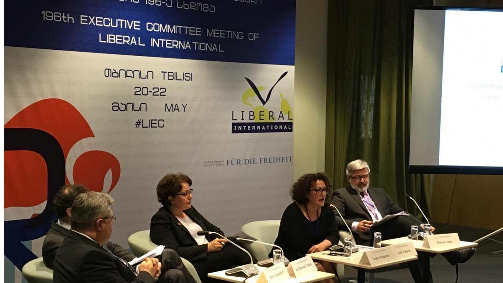 La consellera liberal Judith Pallarés durant la seva intervenció a la reunió del comité executiu de la Internacional Liberal