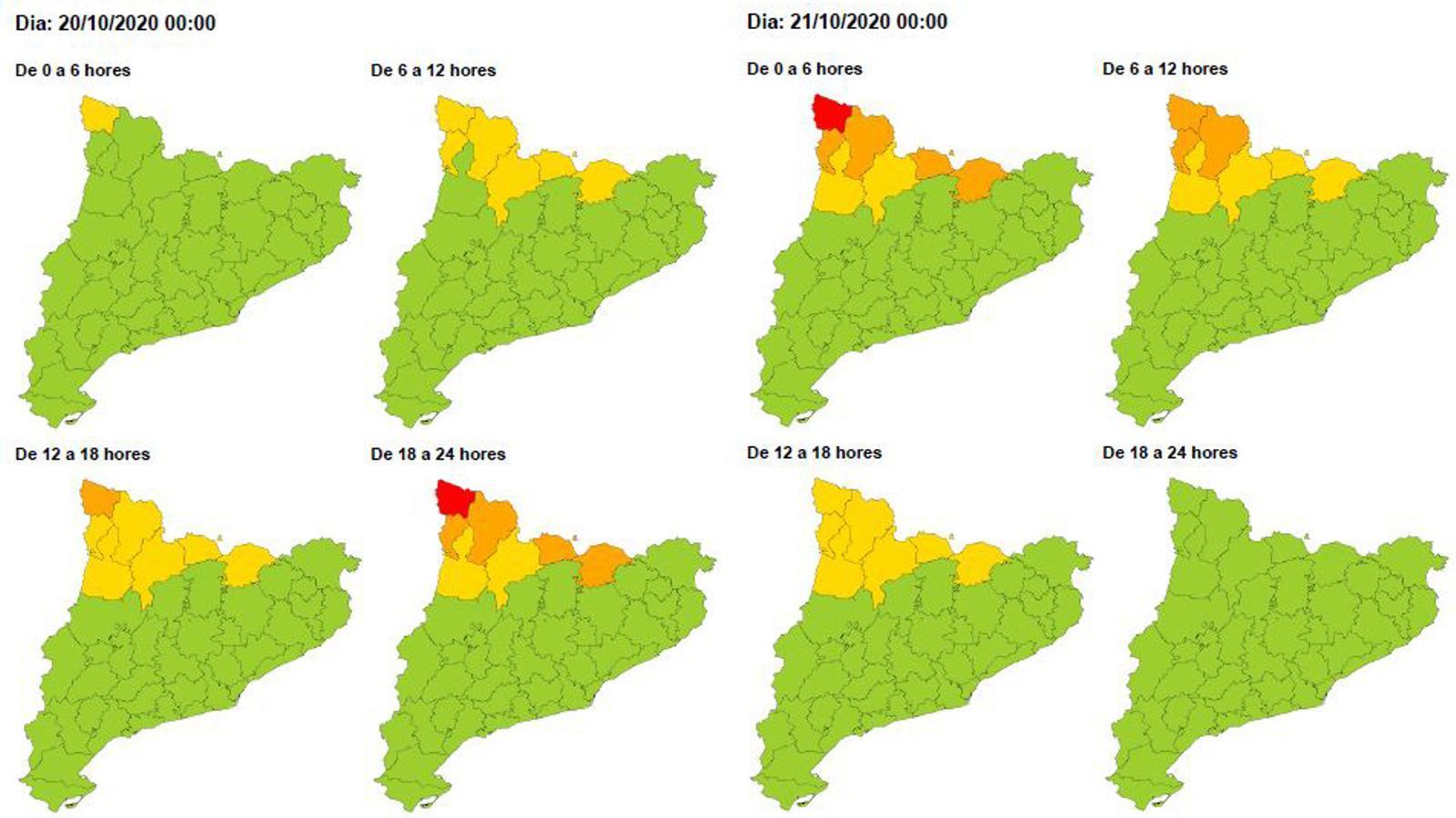 Avís de perill per vent del Meteocat per avui i per demà